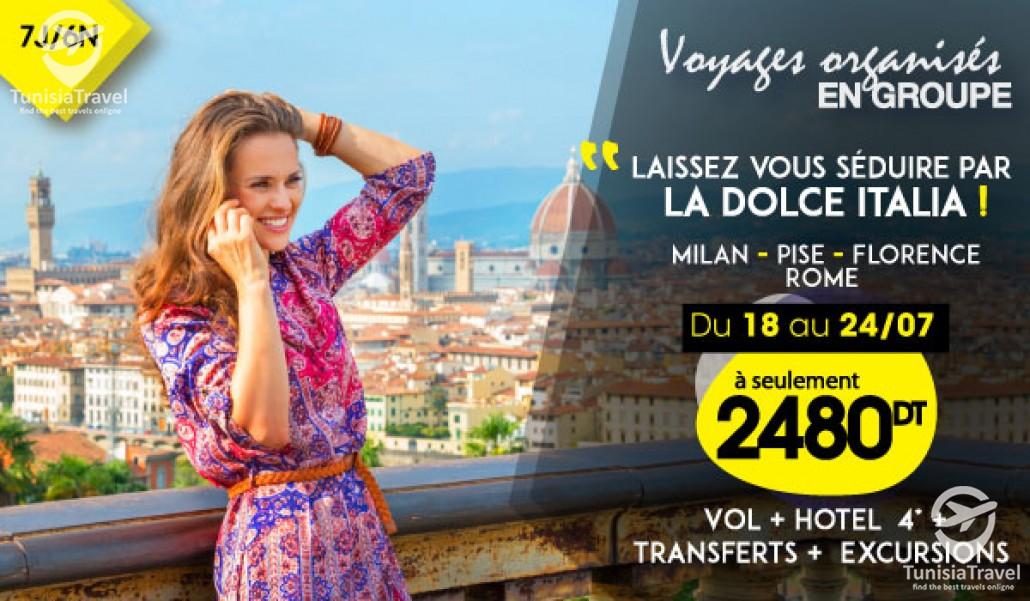 voyage Départ en Groupe à Milan-Pise-Florence-Rome